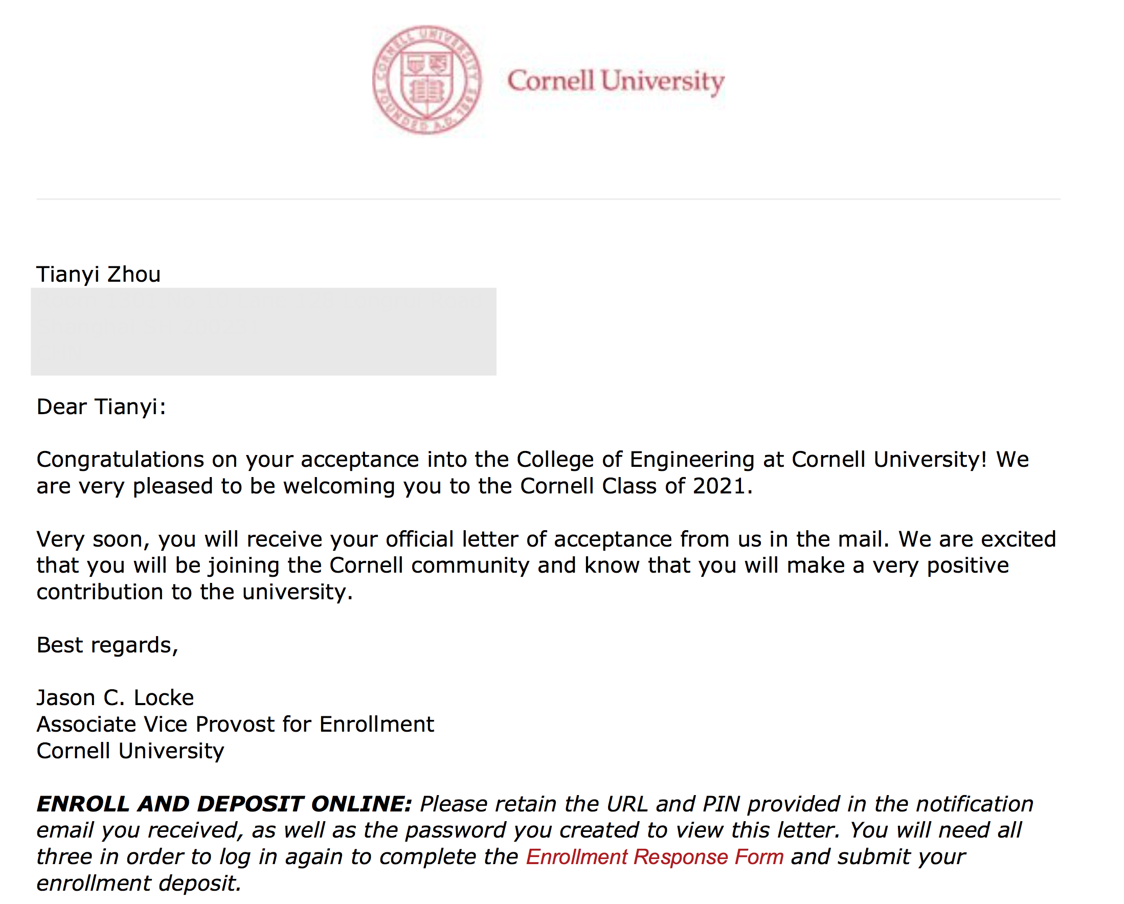 Letter of Acceptance from Cornell Engineering